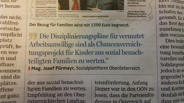 Bild von Zeitungsausschnitt Leserbrief OÖNachrichten